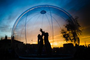 Freedom Festival 2012, Hull East Yorkshire, Saturday 8 September 2012. Pictured: Terrarium - Dance in a bubble